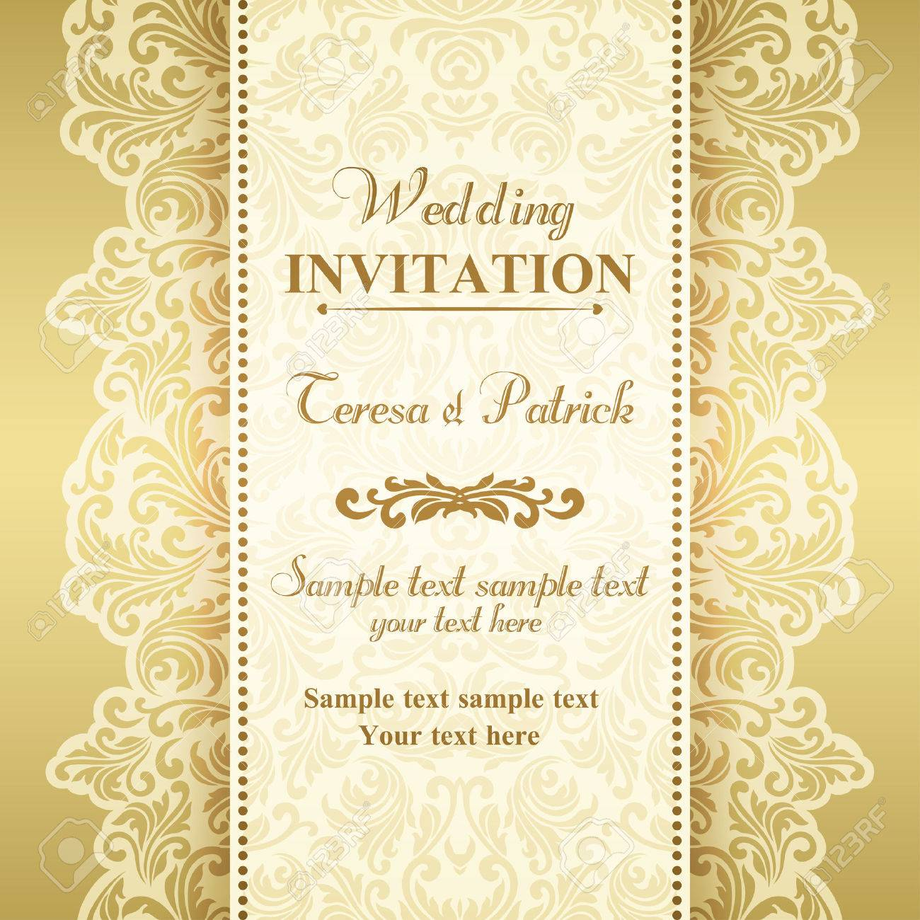 Baroque wedding invitation card in old fashioned style gold baroque wedding invitation card in old fashioned style gold and beige stock vector stopboris Images
