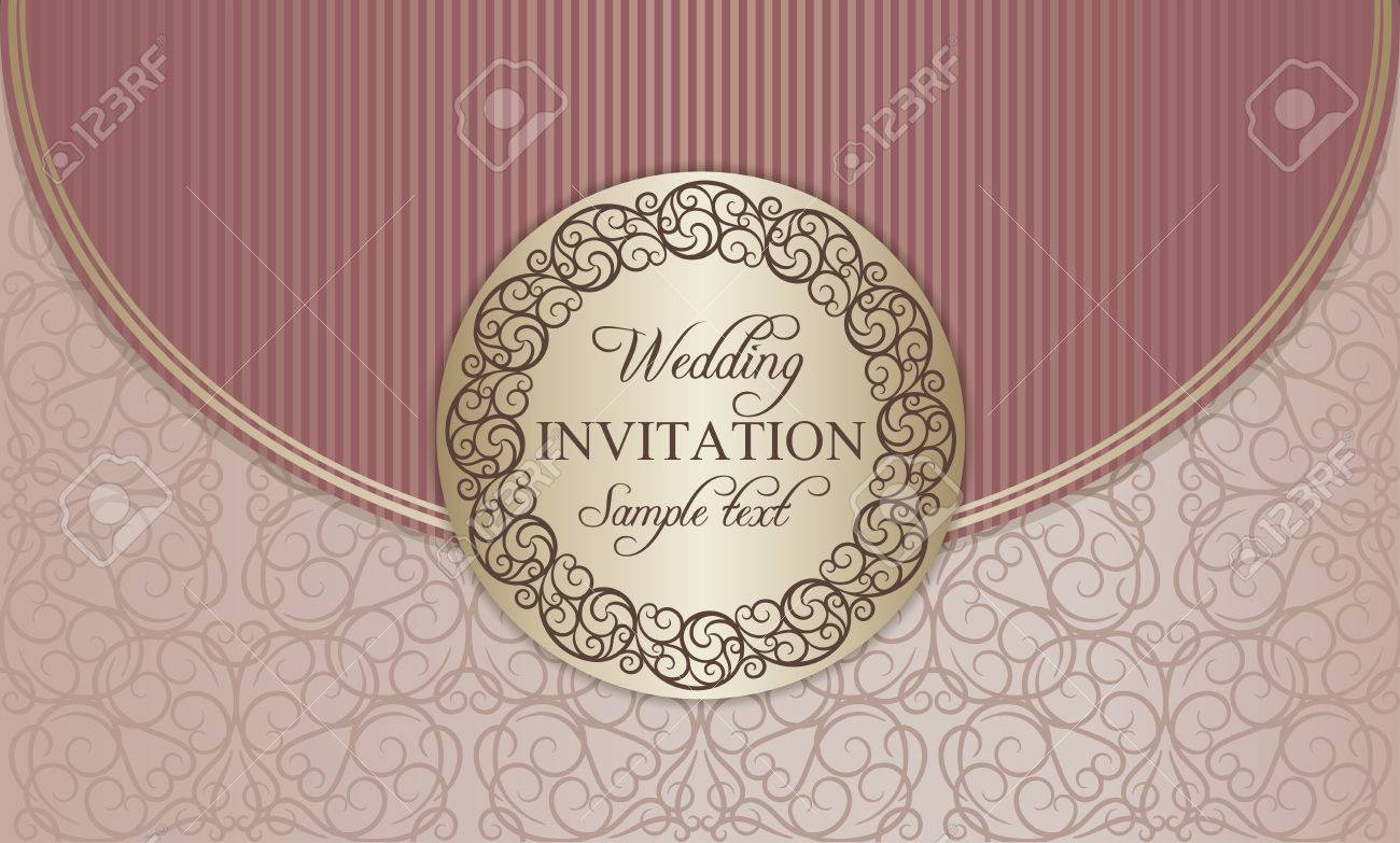 Antique Baroque Wedding Invitation Envelope, Ornate Round Frame ...