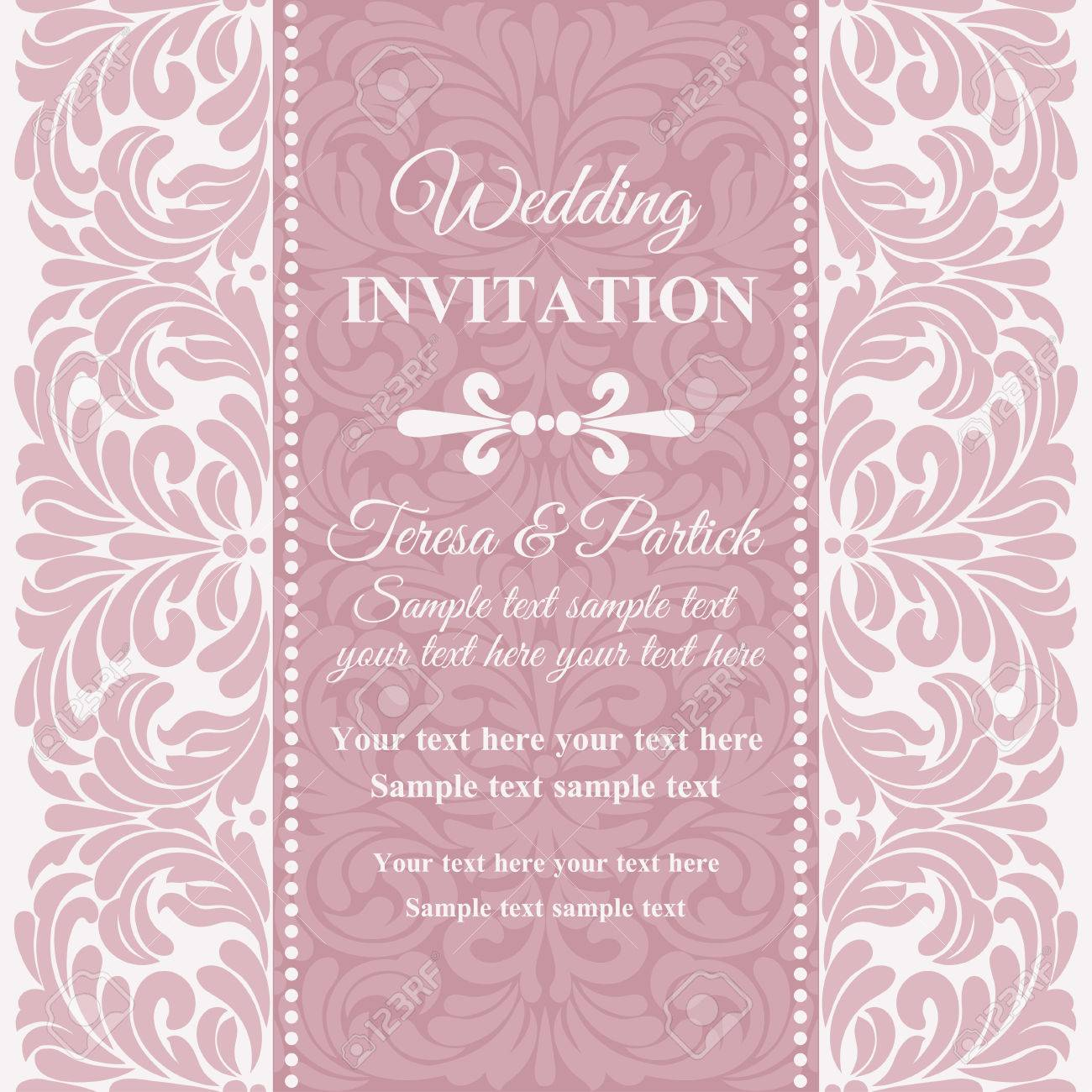 Antique Baroque Wedding Invitation Card In Old-fashioned Style ...