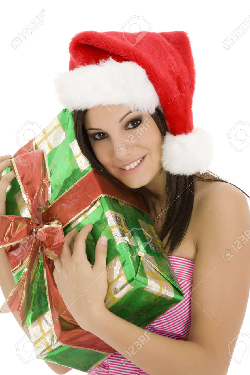 Beautiful Caucasain female holding gifts on white background Stock Photo - 3836081
