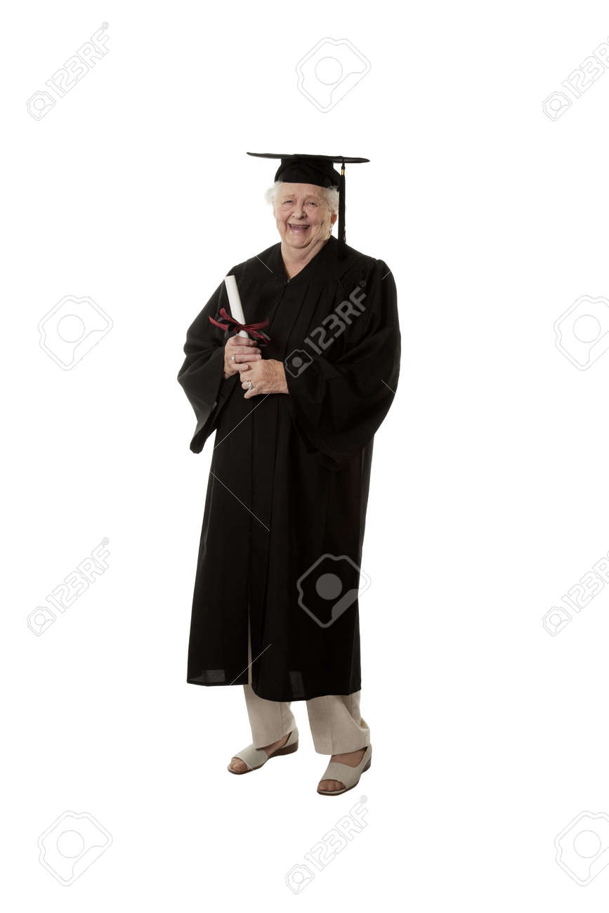 Beauitiful Caucasian Woman In A Black Graduation Gown Stock Photo ...