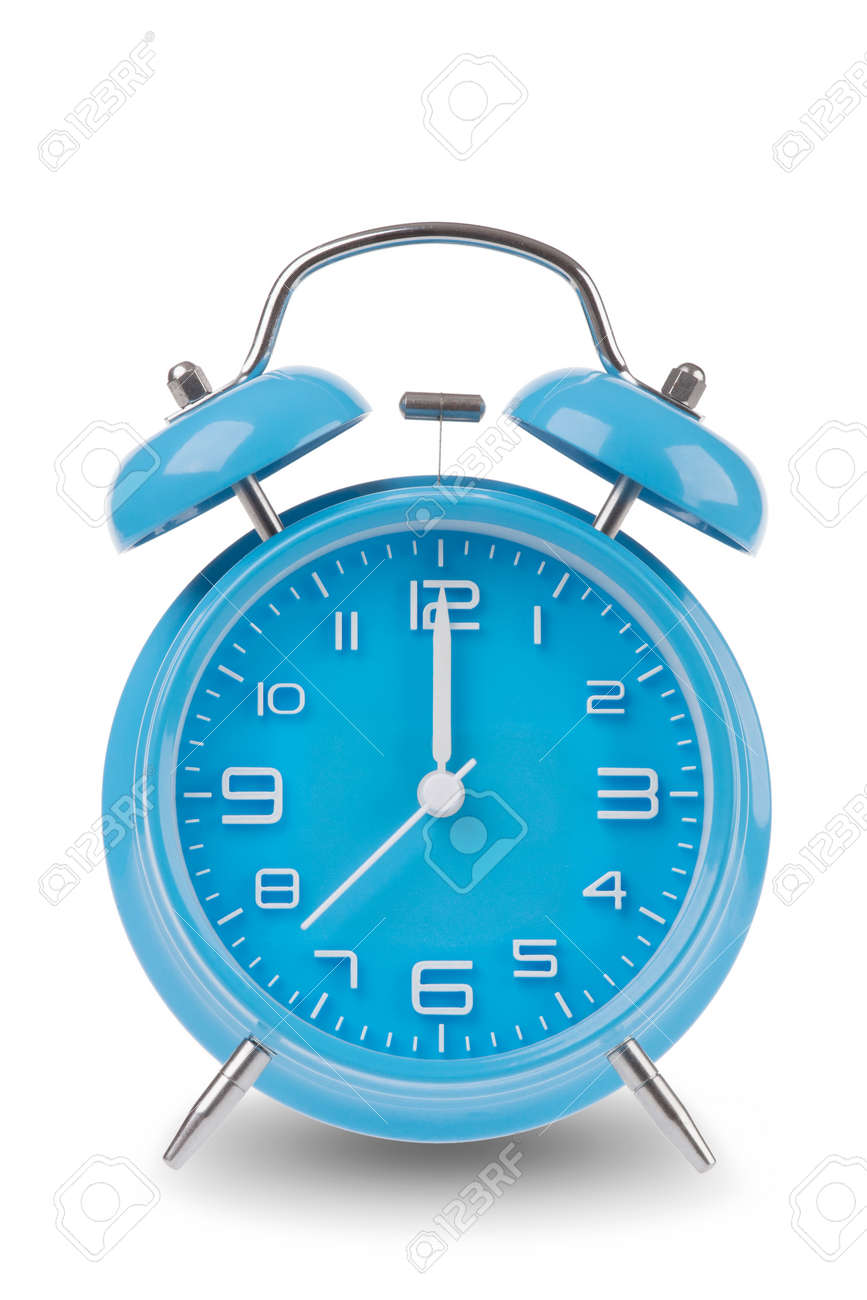 Blue alarm clock with the hands at 12 am or pm midnight or noon