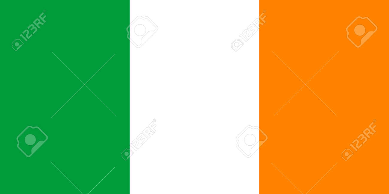 the official flag of ireland in both sze and color also known