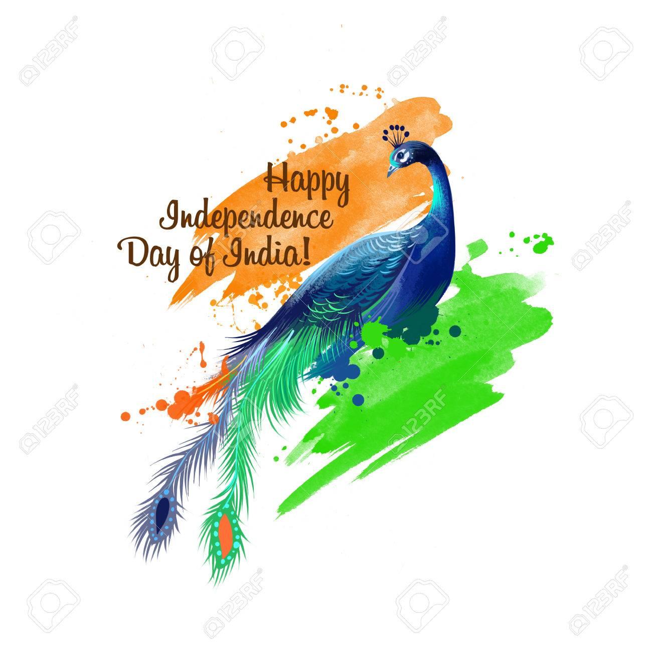 Independence Day Of India Digital Art Illustration National Stock