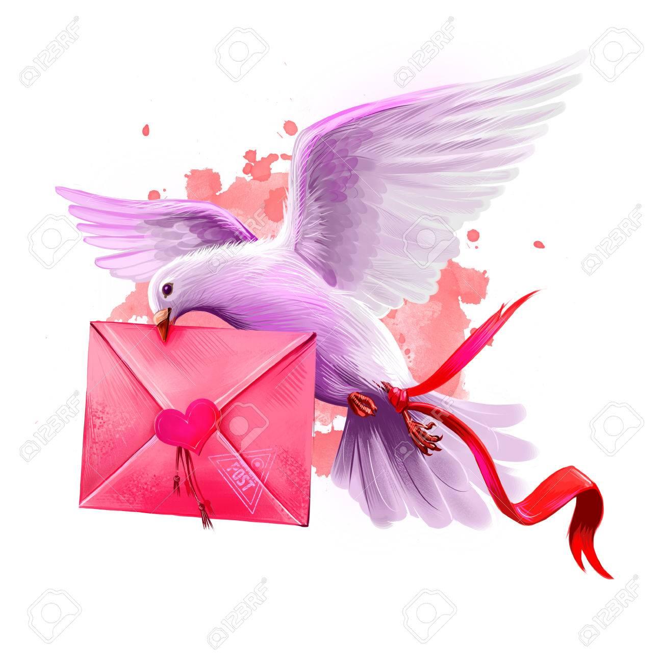 Digital illustration of pigeon bringing love letter flying post digital illustration of pigeon bringing love letter flying post pigeon beautiful design with pink bookmarktalkfo Images