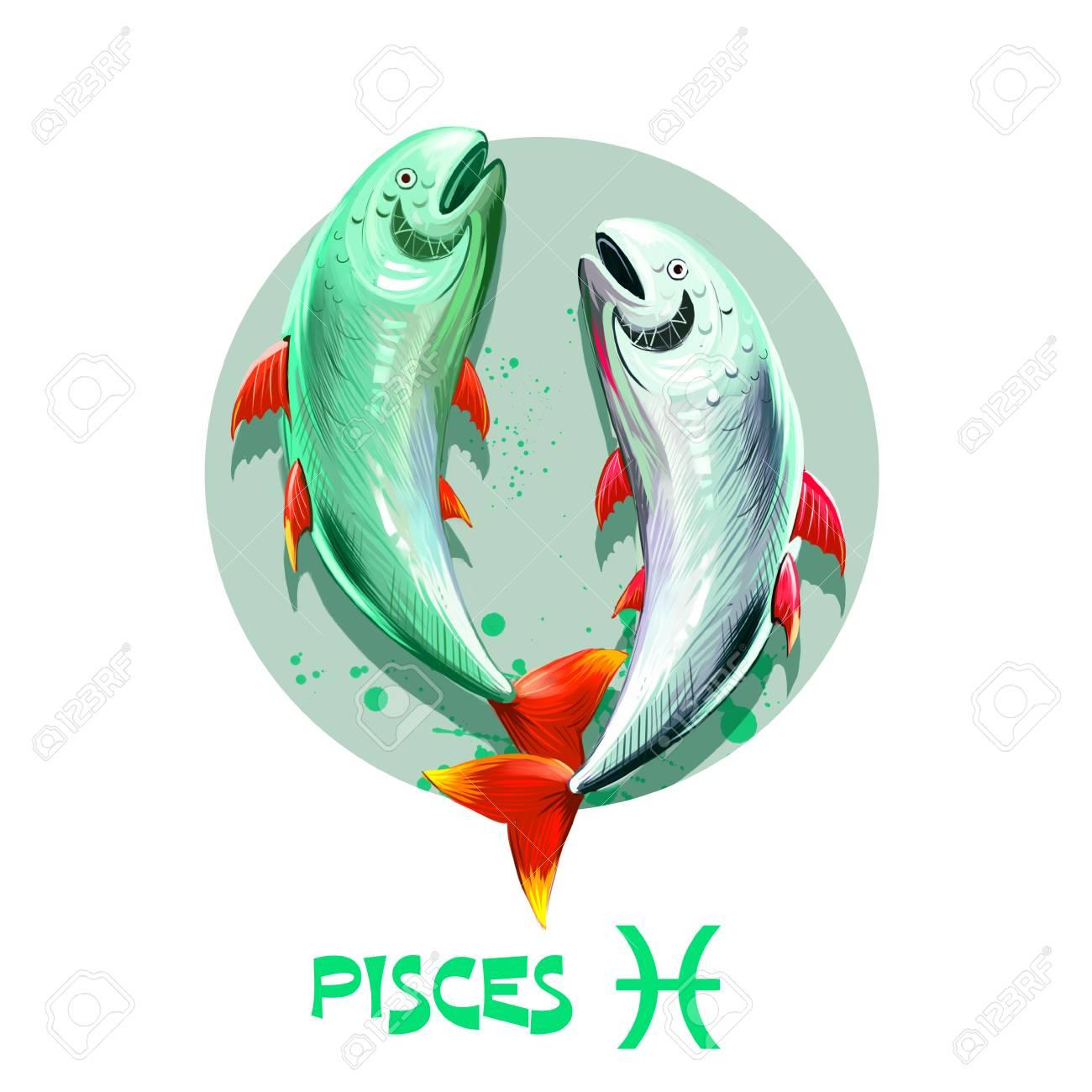 Kreative Digitale Illustration Des Astrologischen Zeichen Fische ...