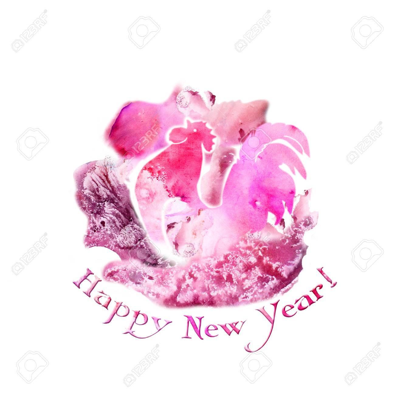 無料ピンク ペイント デザインの抽象的な背景の水彩画オンドリ。新年