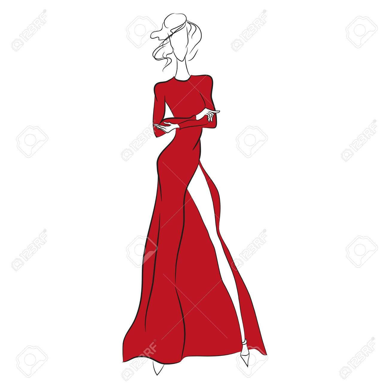 Vector De Boceto De Moda Modelo Hermoso Que Se Coloca En El Vestido Rojo Magnífico Largo Con El Alto Corte Mangas Largas Silueta Del Cuerpo Flaco