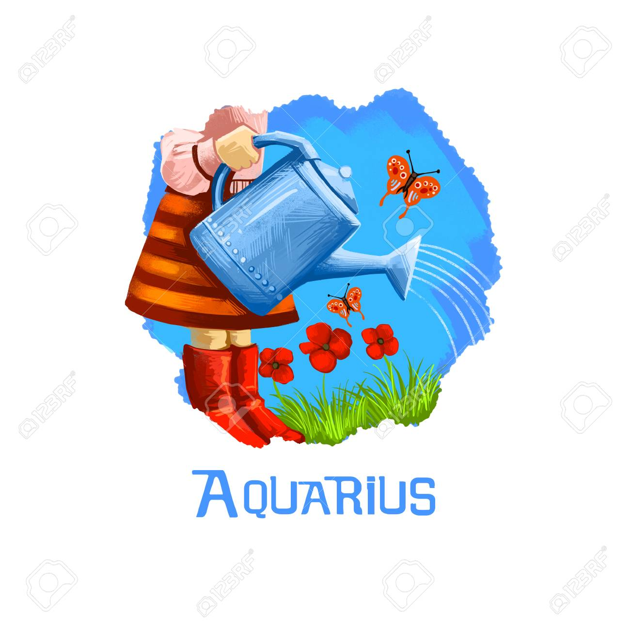 Aquarius horoscope sign with children digital art illustration aquarius horoscope sign with children digital art illustration isolated on white little girl pouring plants buycottarizona