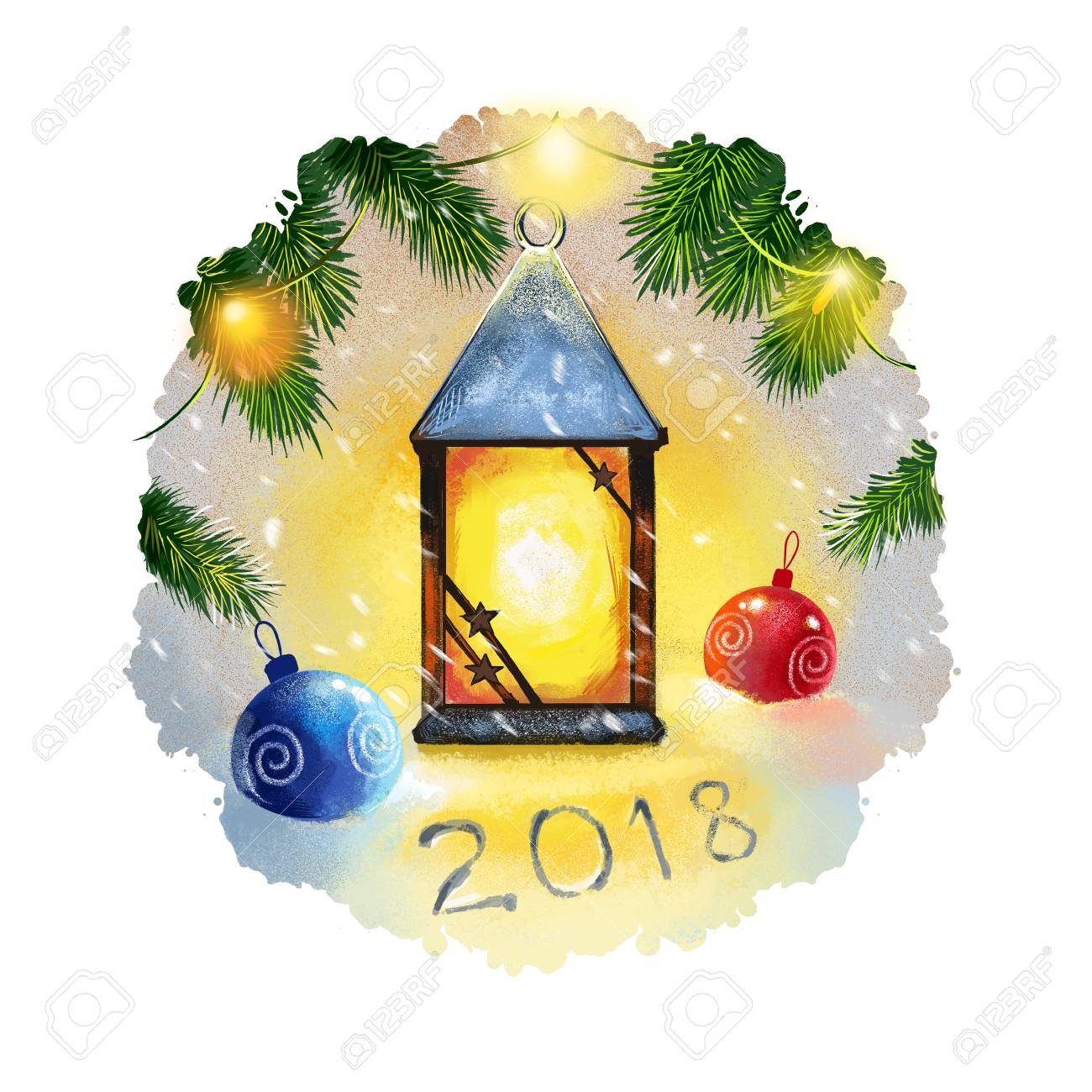 digital art illustration of christmas lantern and christmas decorations hanging on christmas tree branch merry