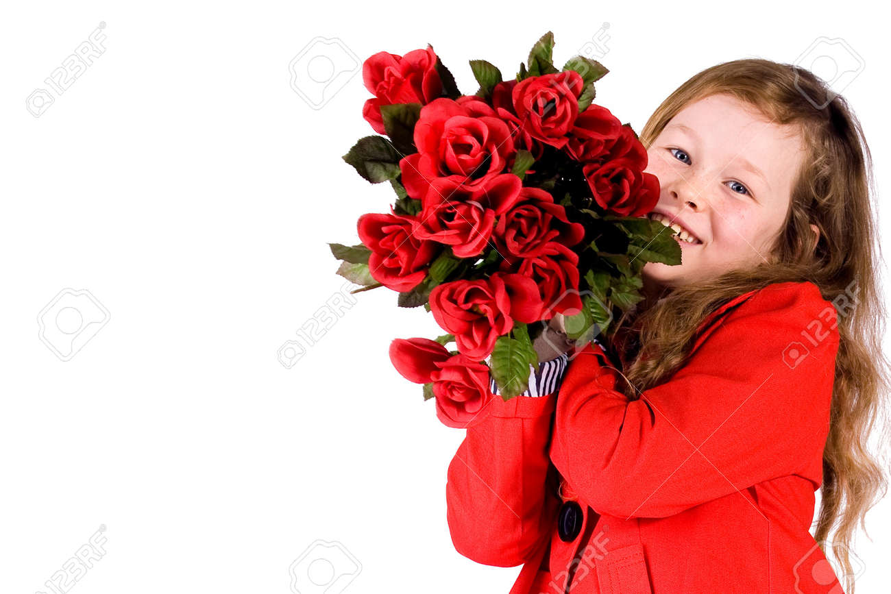 Sweet valentine girl with a lot of red roses Stock Photo - 3997294