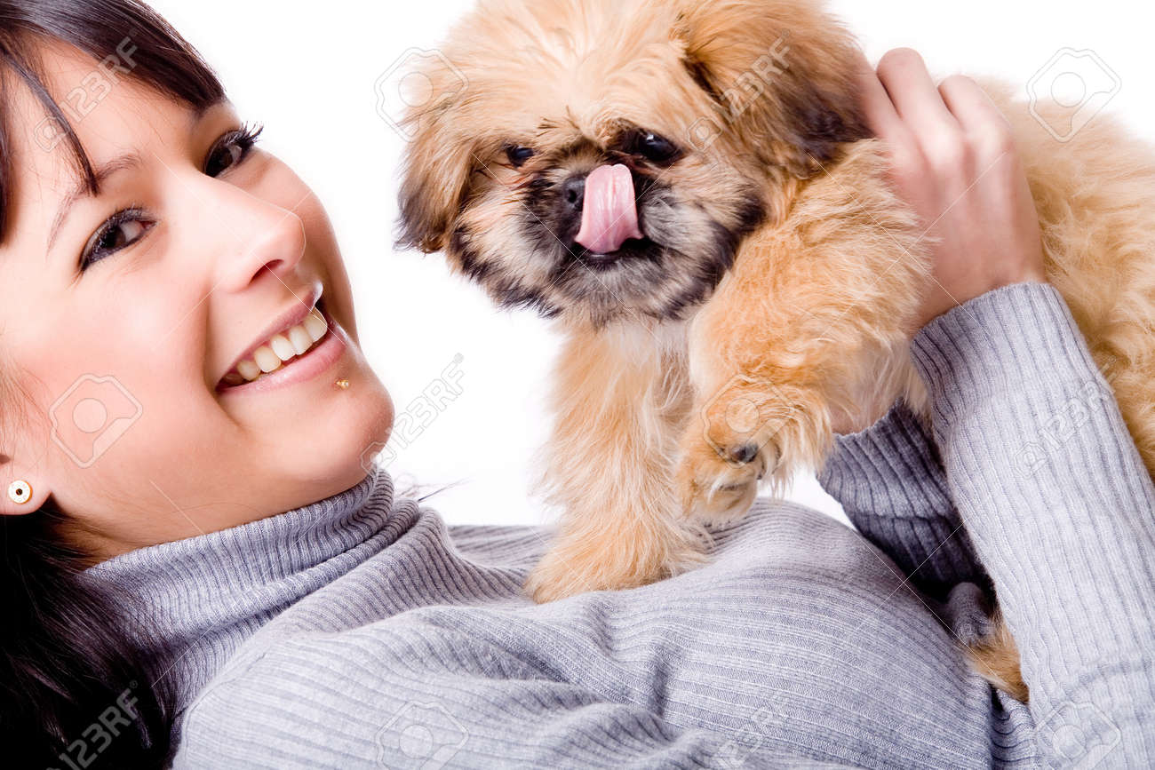 Brunette woman with a cute little pekingese Stock Photo - 4055679