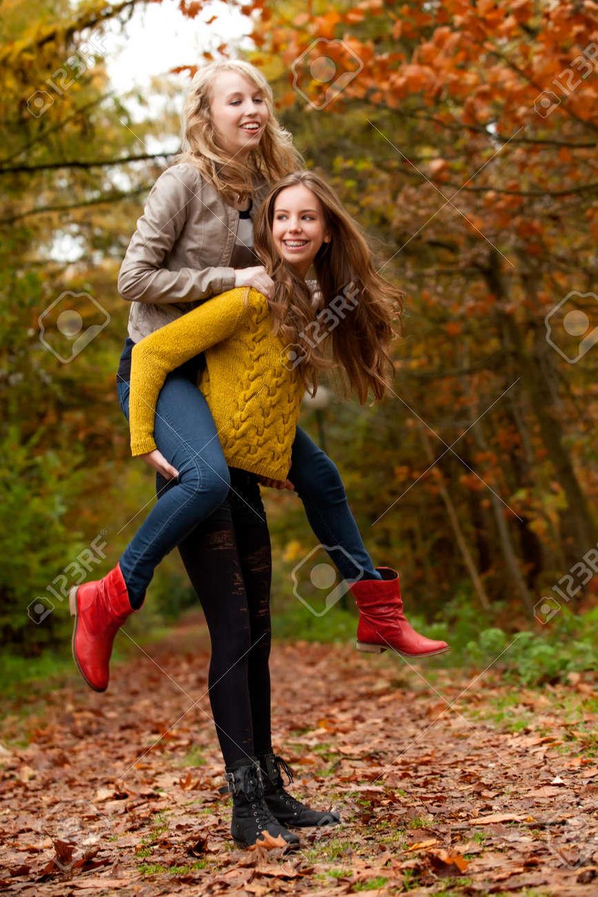 2 girls having fun