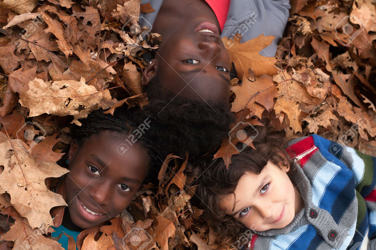 Happy family with foster children in the forest Stock Photo - 16972204