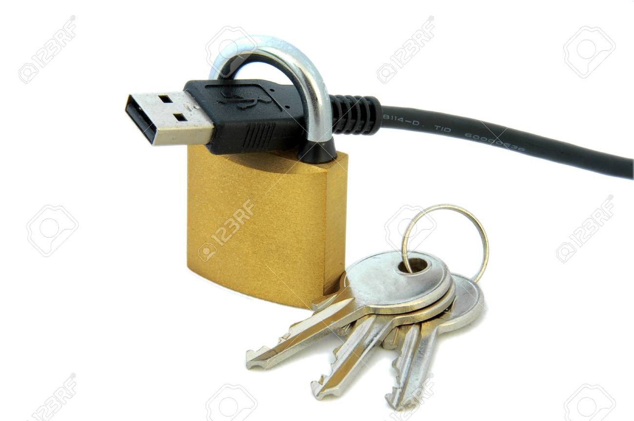 An isolated image of a padlock, a USB cable, and keys Stock Photo - 3934322