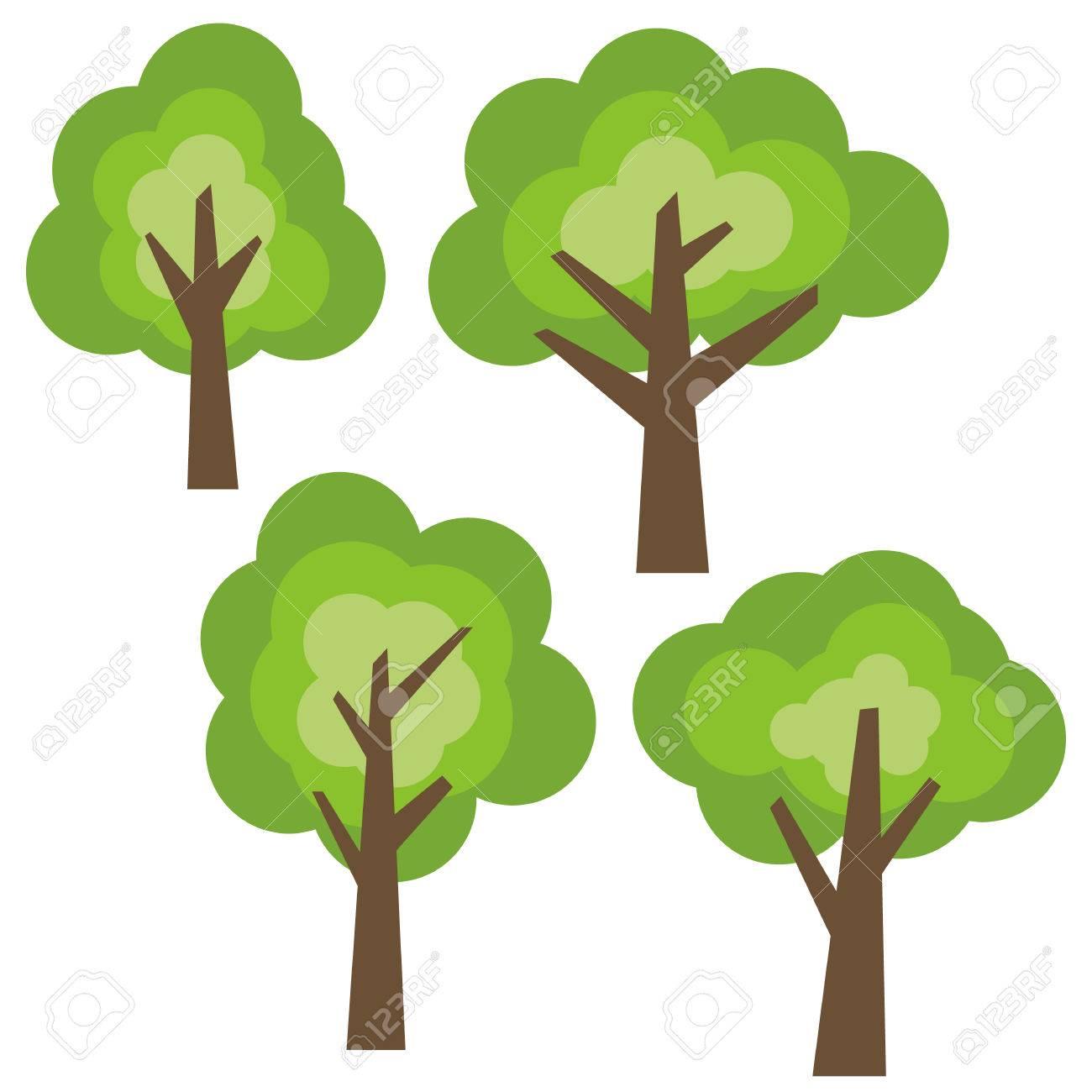 Conjunto De Cuatro Diferentes árboles De Dibujos Animados Verde