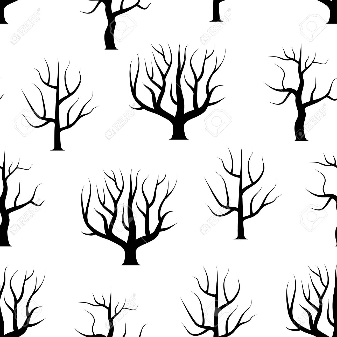 Black And White Curved Trees Without Leaves Royalty Free Cliparts