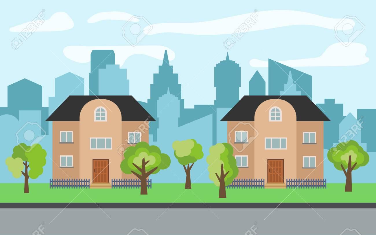 Case A Due Piani vector la città con due case a due piani del fumetto e gli alberi verdi nel  giorno soleggiato. paesaggio urbano estivo. street view con vista sulla