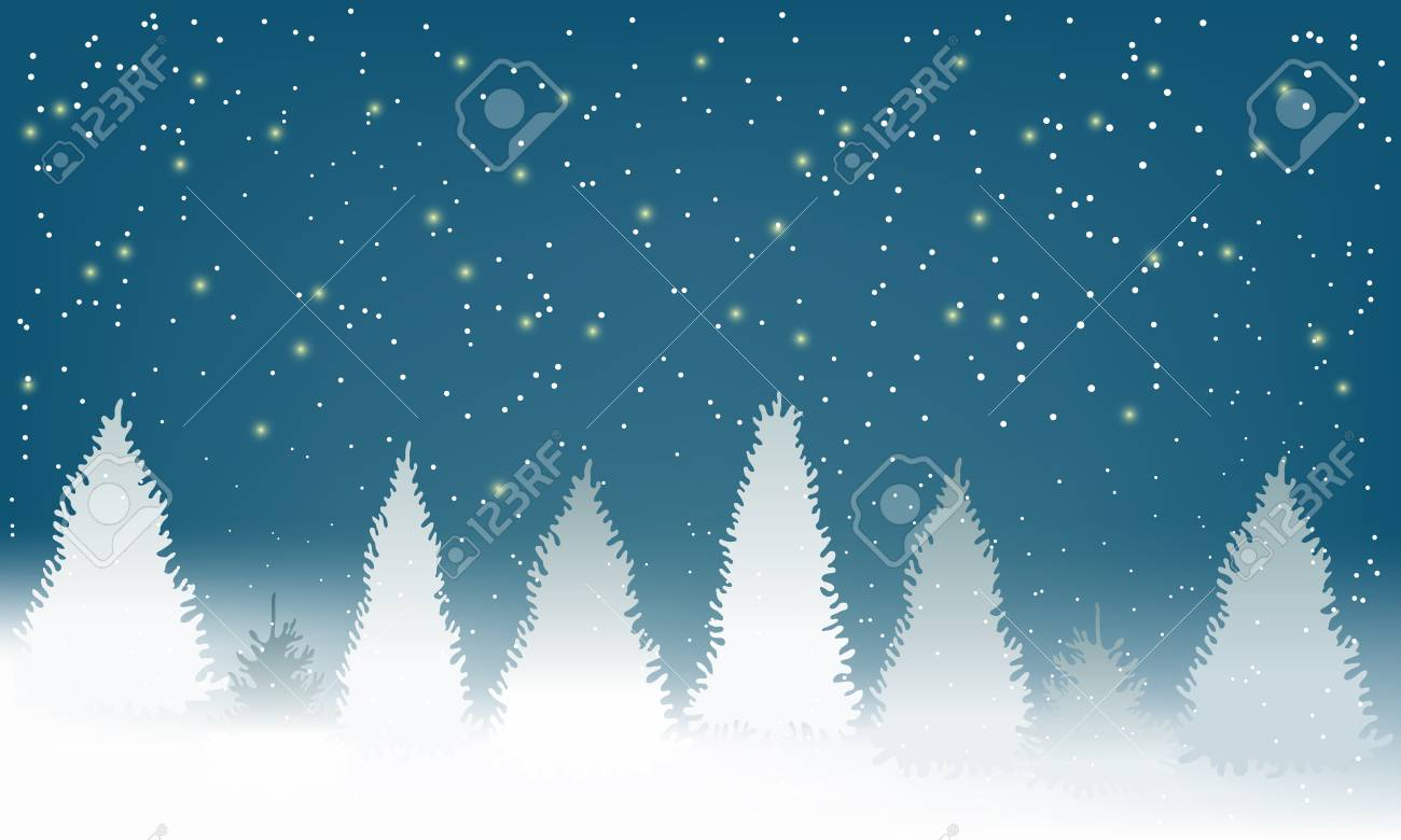 Winter Snowy Woodland Landscape with falling snow. Winter background. Vector illustration - 125848956