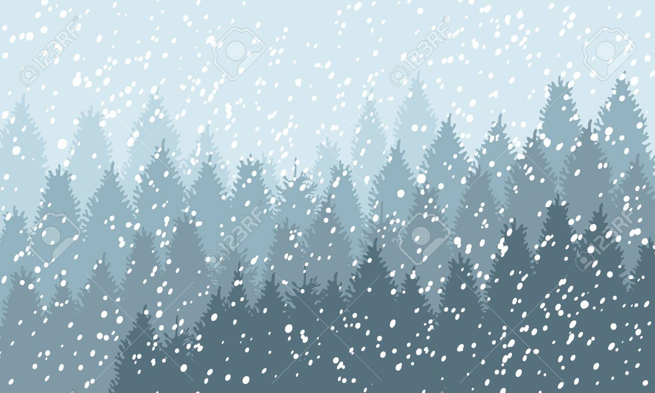 Winter Snowy Woodland Landscape with falling snow. Winter background. Vector illustration - 125848964