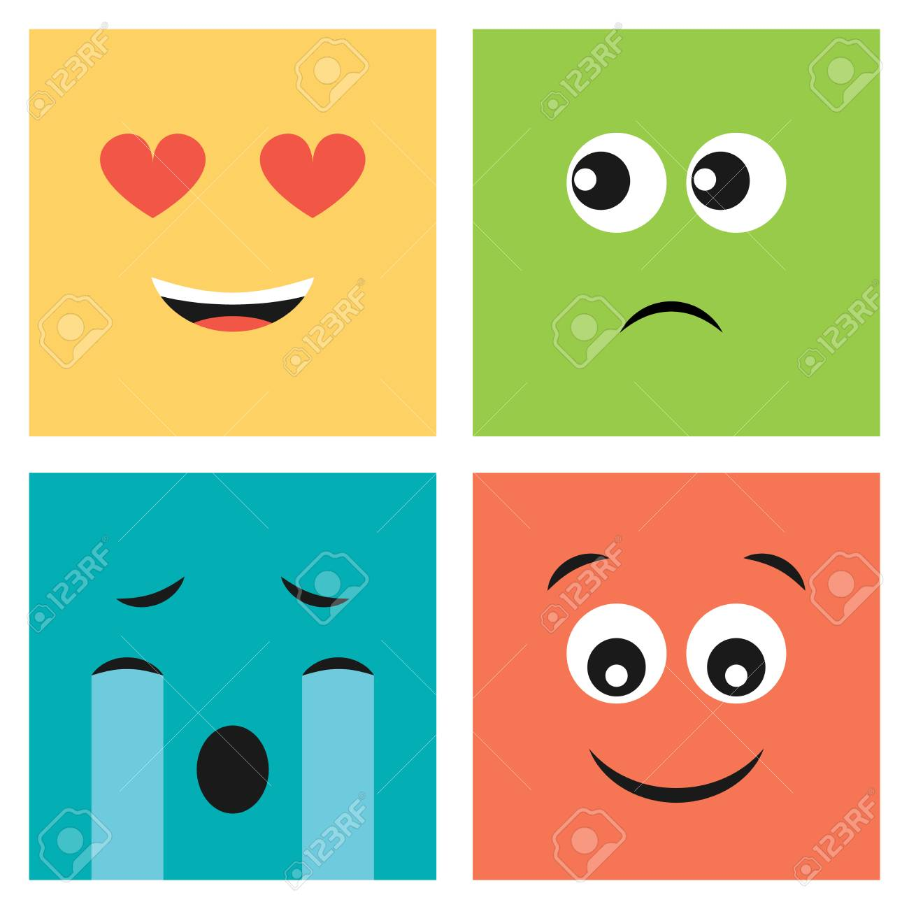 Set of four colorful emoticons with smiling love, surprised