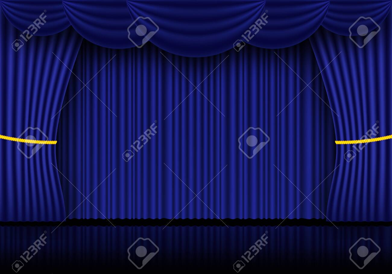 Blue curtain, cinema or theater stage drapes. Spotlight on closed velvet curtains background. Vector illustration - 120995447