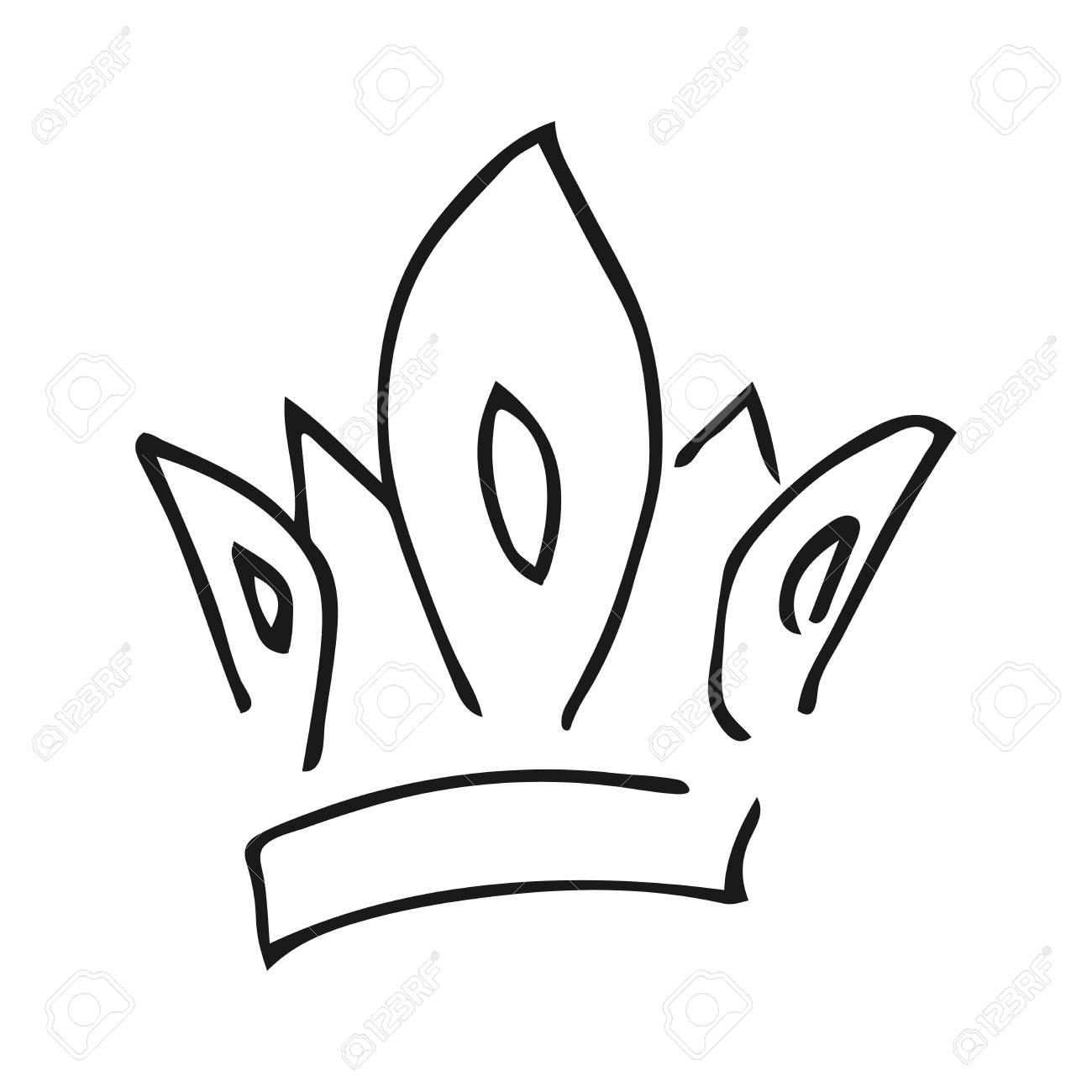 Hand drawn crown  Simple graffiti sketch queen or king crown