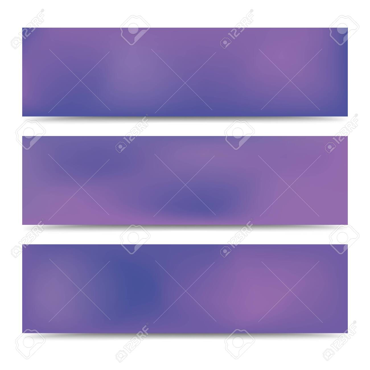 Smooth abstract blurred gradient purple banners set. Abstract Creative multicolored background. Vector illustration - 128855168