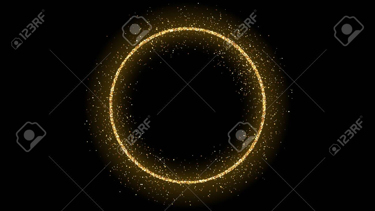 Golden circle frame with glitter, sparkles and flares on dark background. Empty luxury backdrop. Vector illustration. - 148040195