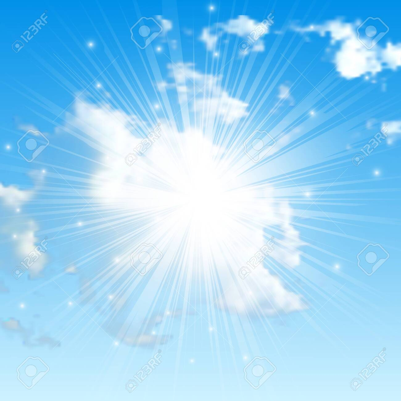 Natural background with clouds and sun on blue sky. Realistic cloud on blue backdrop. Vector illustration - 152773444