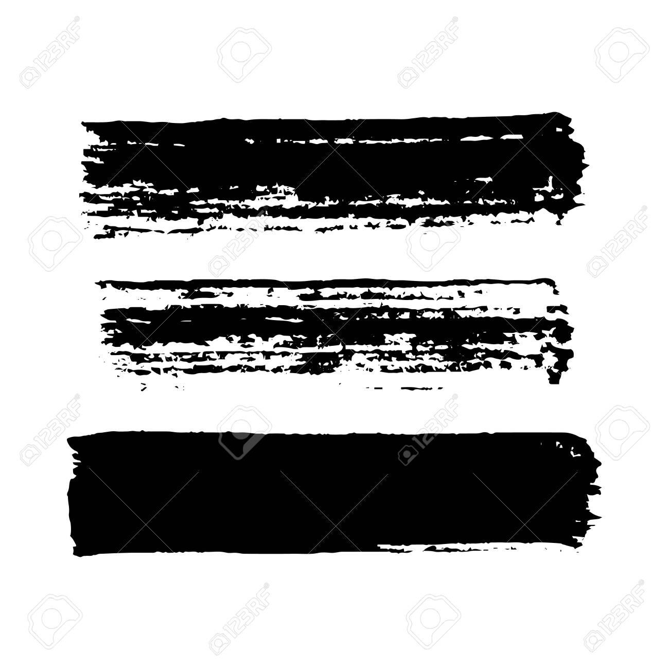 Black grunge brush strokes. Set of three painted brush ink stripes. Ink spot isolated on white background. Vector illustration - 152858526