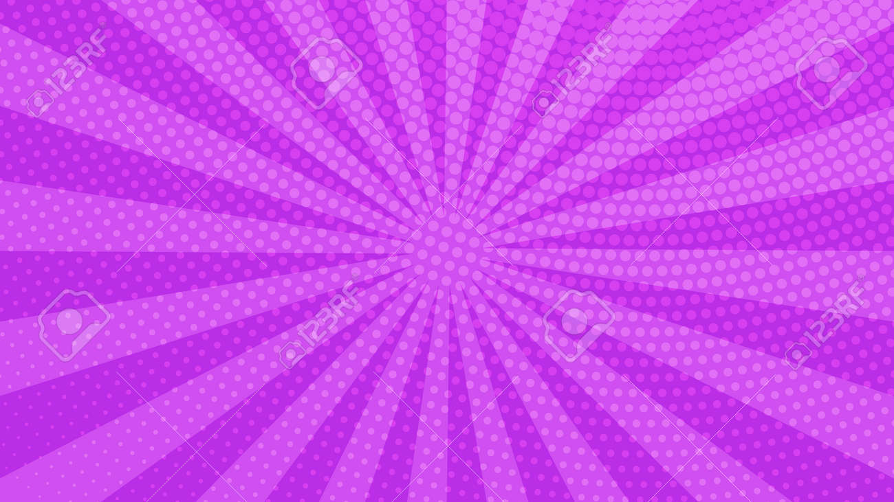 Purple comic book page background in pop art style with empty space. Template with rays, dots and halftone effect texture. Vector illustration - 153862925