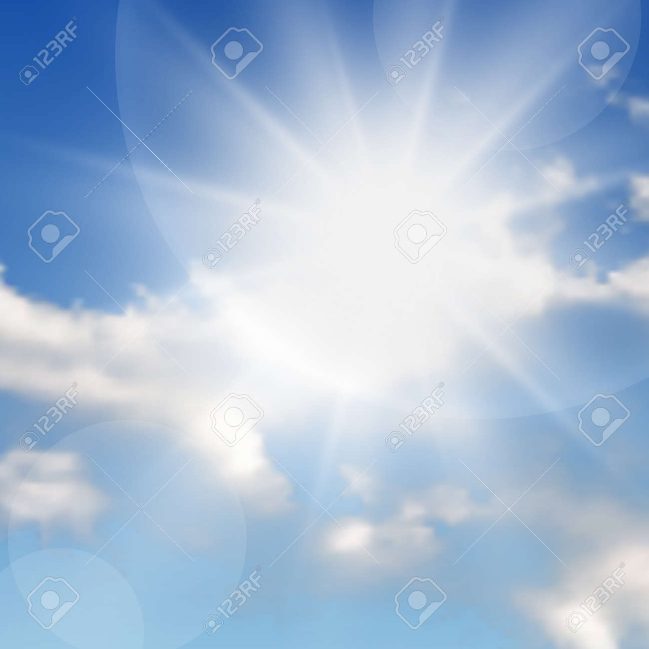 Natural background with clouds and sun on blue sky. Realistic cloud on blue backdrop. Vector illustration - 159434154