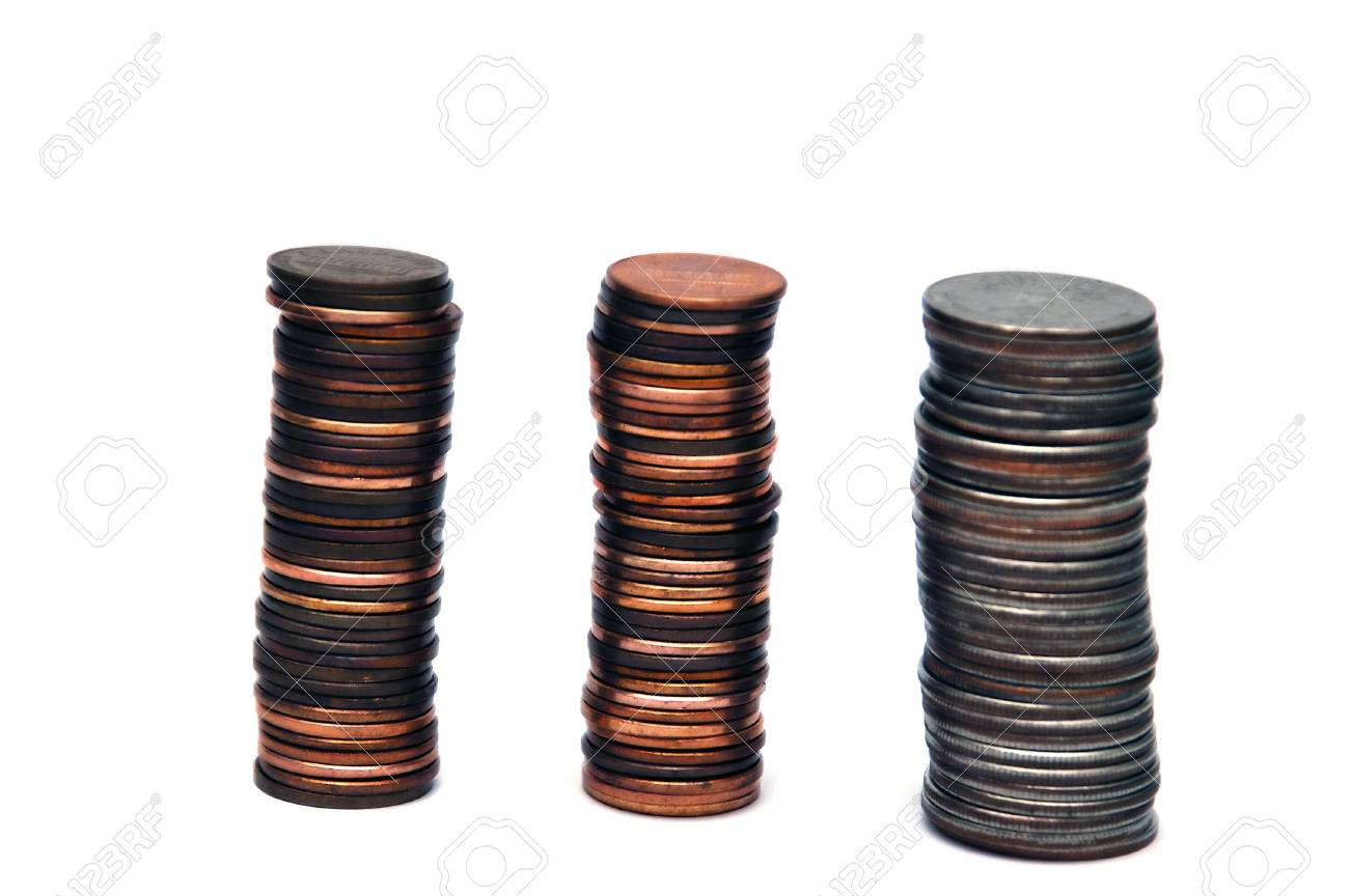 Piles of coins isolated on a white background Stock Photo - 789170