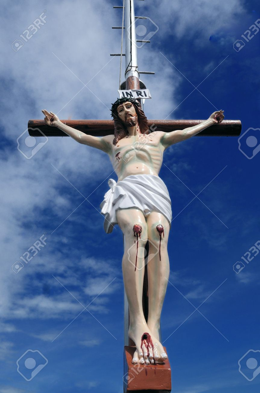 a picture of jesus crusified in the cross stock photo picture and