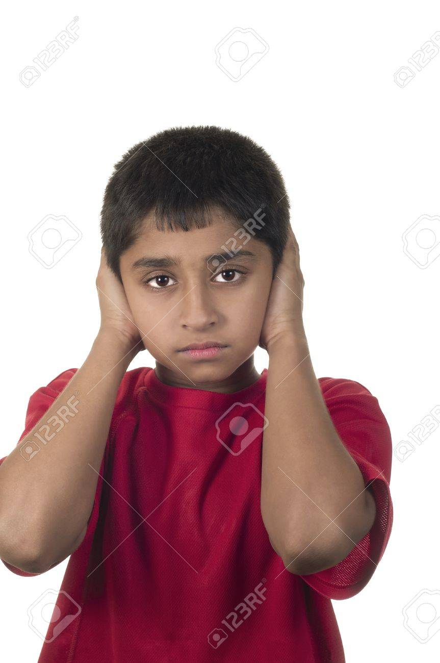 Hear no evil, see no evil and speak no evil, boy isolated on white background Stock Photo - 13396642