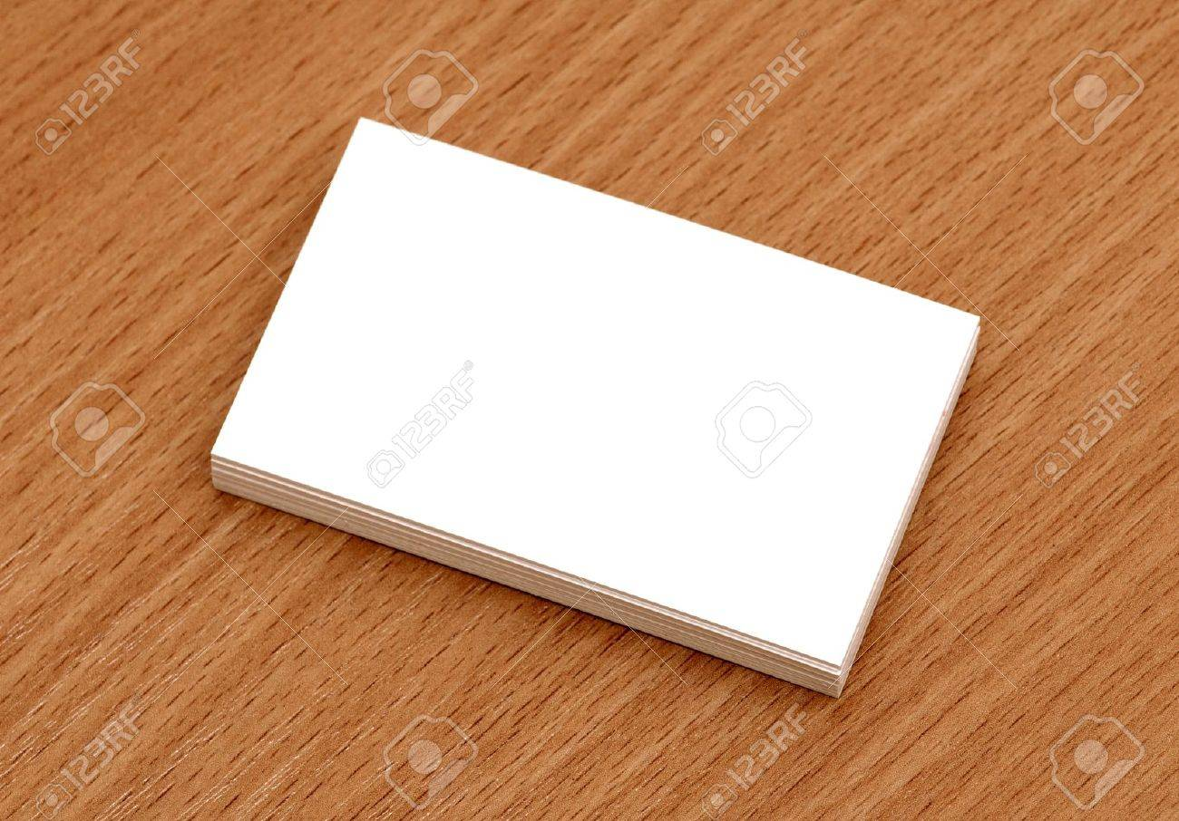 Blank Business Cards Stacked Up On A Desk Stock Photo, Picture And ...