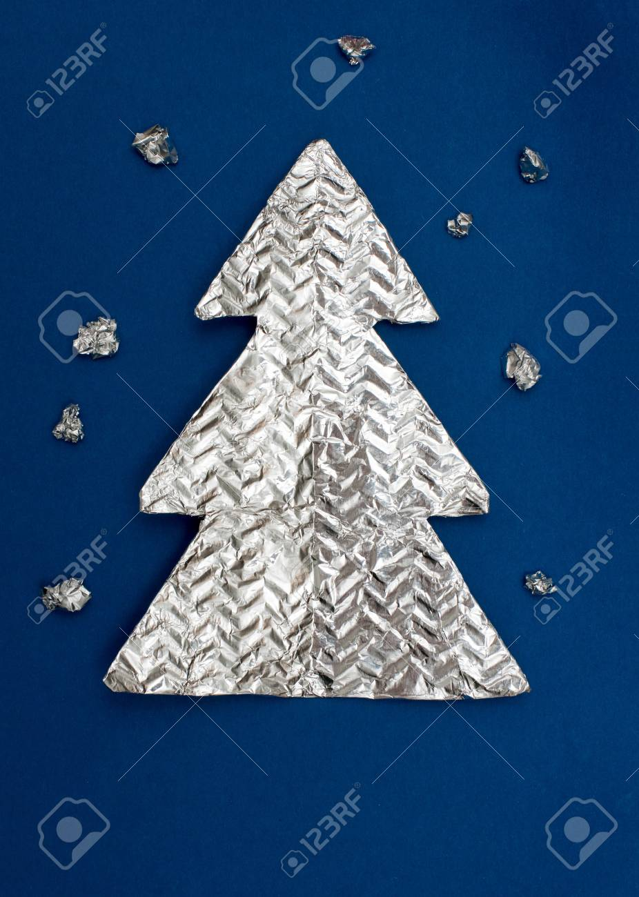 Foil Christmas Tree.Christmas Tree Made Out Of Foil