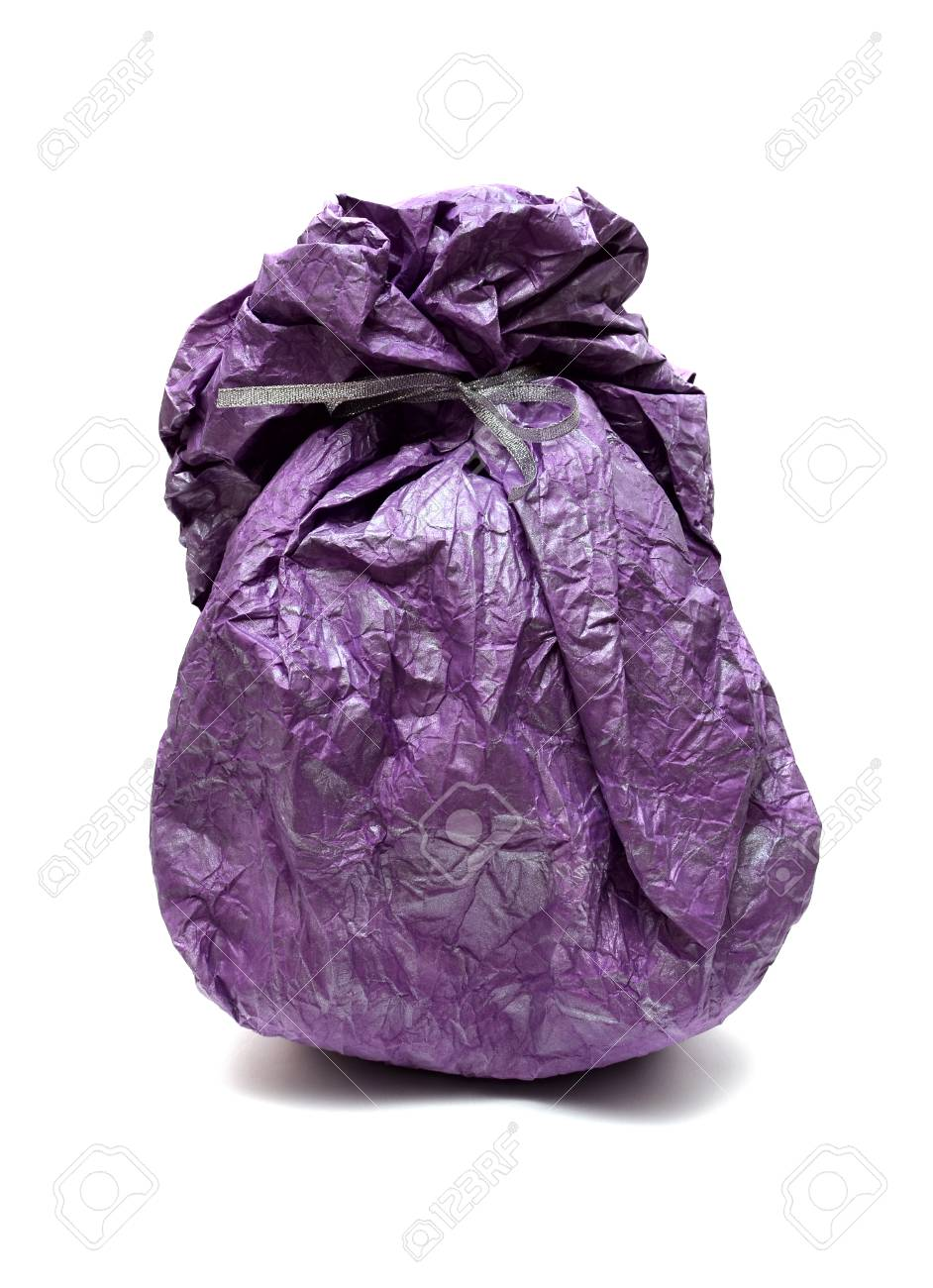 Bright gift sack isolated on the white Stock Photo - 17174831