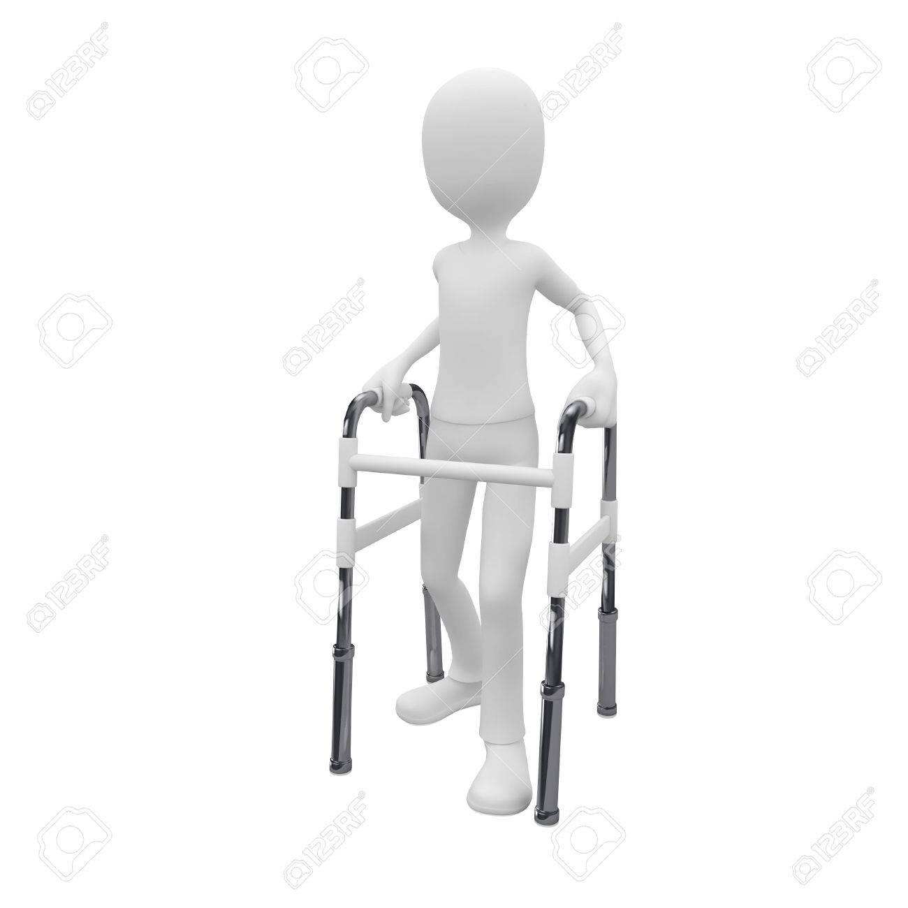 3d Man Using A Walking Frame As Walk Aid Stock Photo, Picture And ...