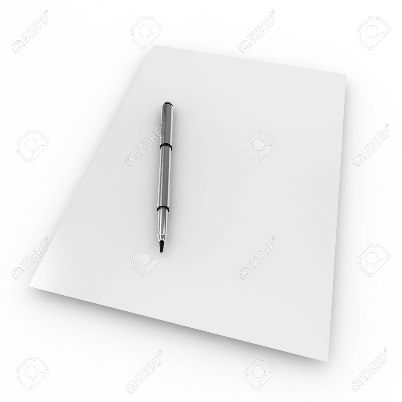 3d blank paper with pen isolated on white Stock Photo - 8187324