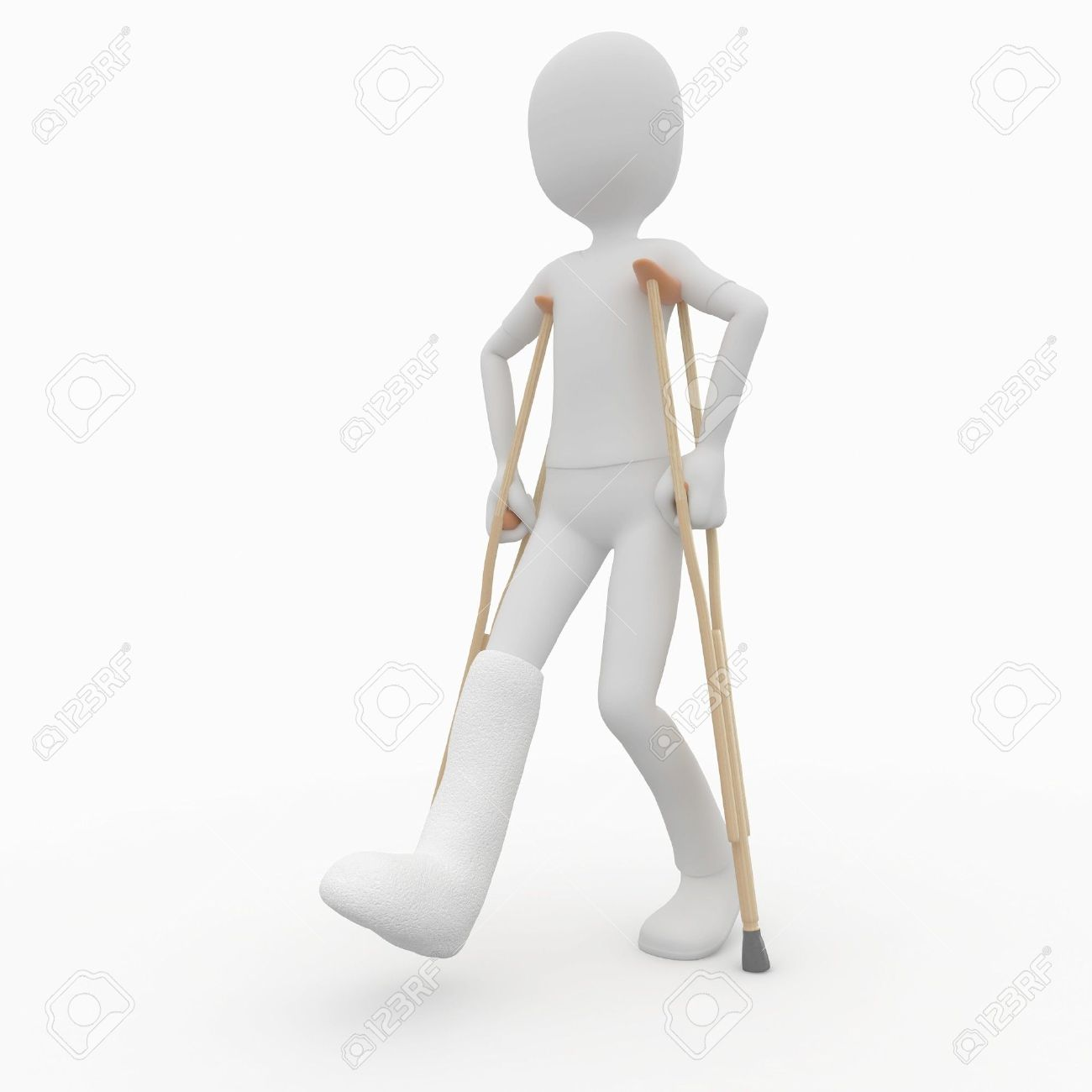 3d man with crutches and broken leg Stock Photo - 8187343