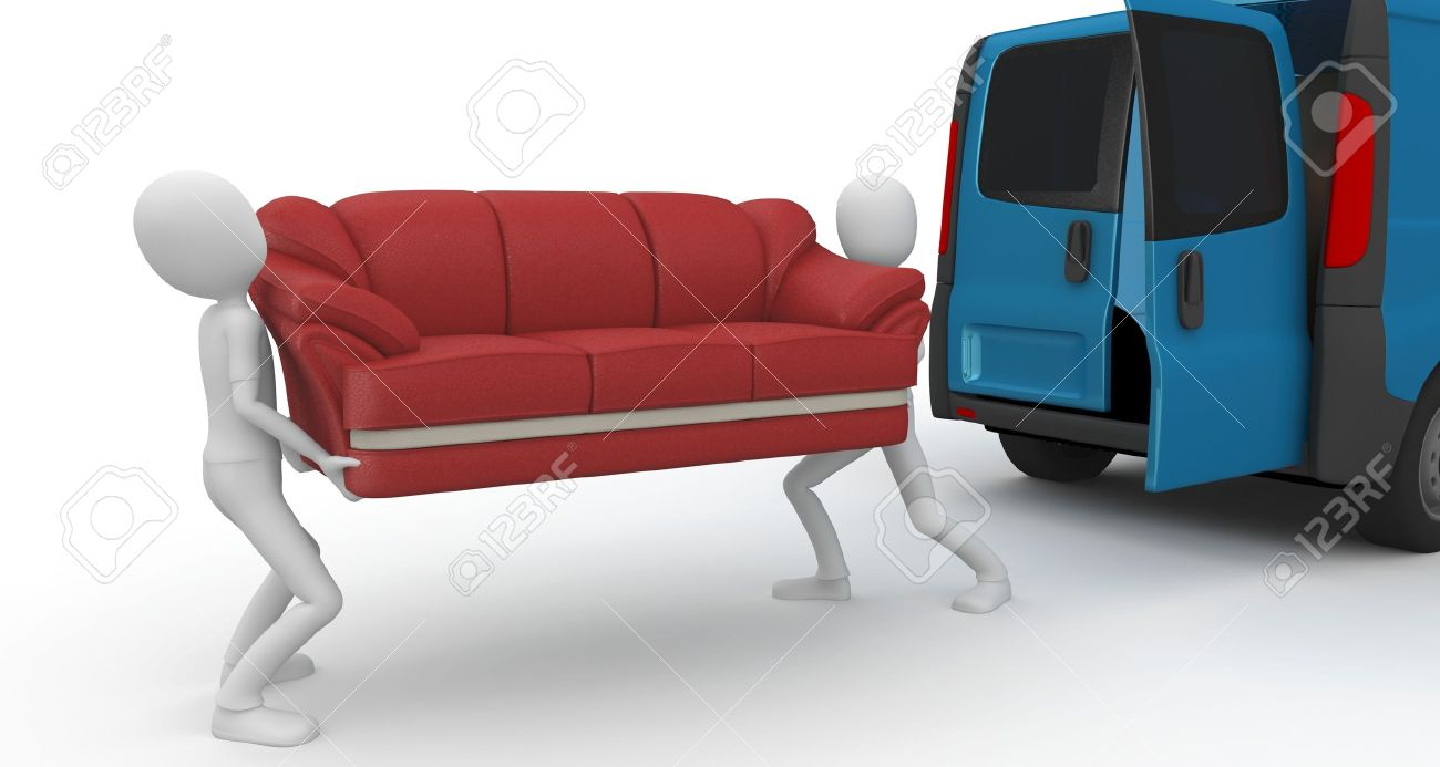 D Man Moving Furniture Isolated On White Stock Photo Picture And - Moving furniture
