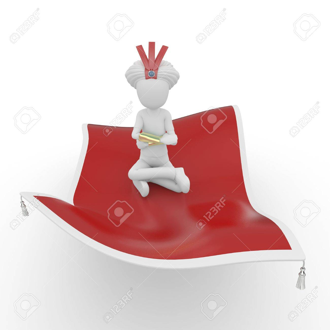 3d man with flying carpet isolated on white Stock Photo - 8187922