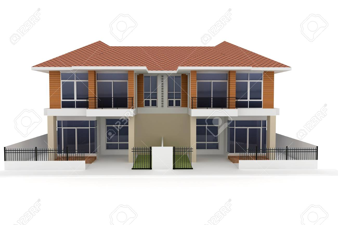 3d house isolated on white rendered generic Stock Photo - 8187843