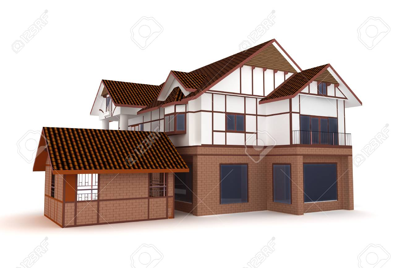 3d house isolated on white rendered generic Stock Photo - 8187808