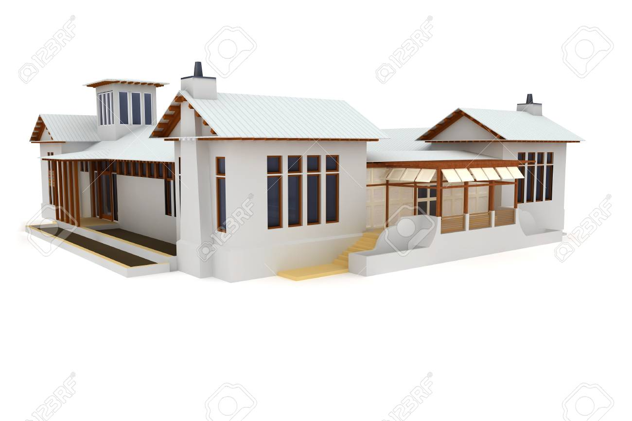 3d house isolated on white rendered generic Stock Photo - 8217991