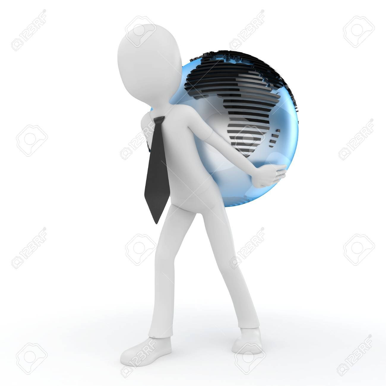 3d man with globe isolated on white Stock Photo - 8217975