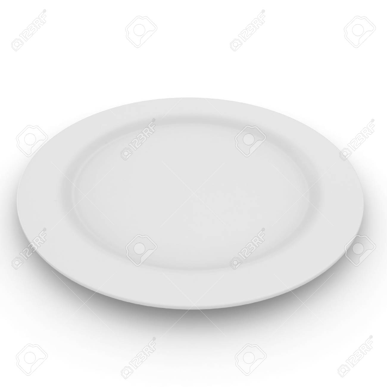 3d blank plate isolated on white Stock Photo - 8434844