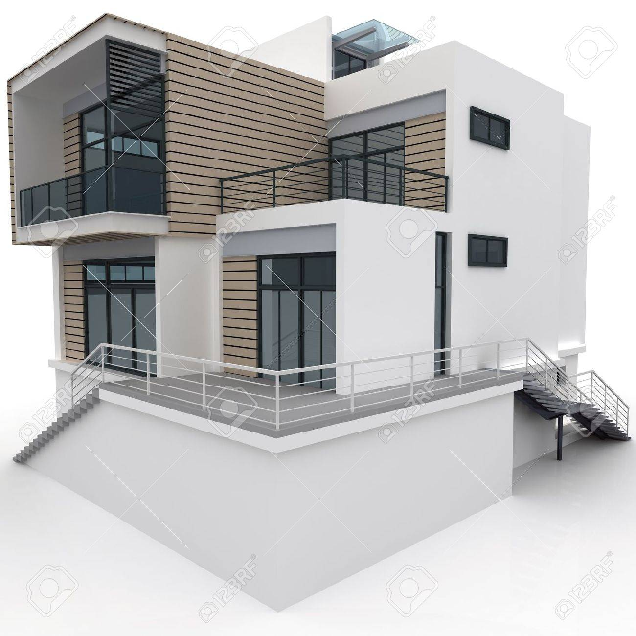 3d house isolated on white rendered generic Stock Photo - 8782595